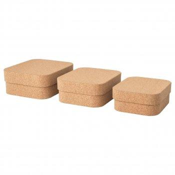 Набір коробок з кришкою IKEA SAMMANHANG 3 шт коркове дерево 404.137.39