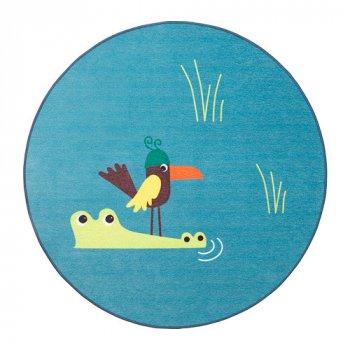 Килим IKEA DJUNGELSKOG 100 см безворсовий з малюнком птиці синій 203.937.61