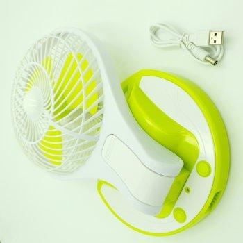 Вентилятор акумуляторний USB настільний з LED підсвічуванням діаметр 15 см 5580 зелений