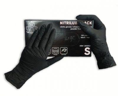 Перчатки медицинские нитриловые смотровые VitLux чёрные (уп 100шт 50пар) размер М (10576)
