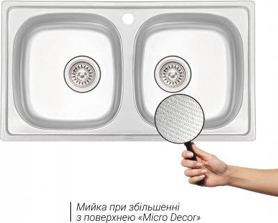 Кухонна мийка QTAP 7843-B Micro Decor 0.8 мм (QT7843BMICDEC08)