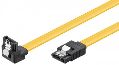 Кабель накопичувача Goobay SATA 7p M/M 0.3m 90°вниз 6Gbps AWG26 Latch жовтий(75.03.5018)