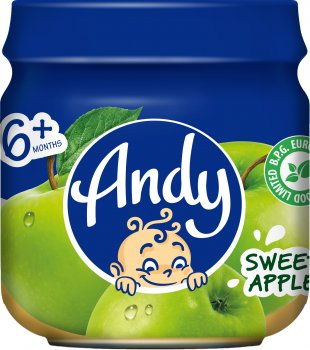 Упаковка дитячого пюре Andy Яблуко 80 г х 12 шт. (4813163003384)