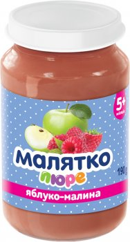 Упаковка дитячого пюре Малятко Яблуко-малина 190 г х 12 шт. (4820123511643)