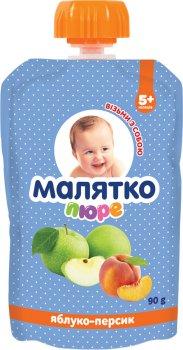 Упаковка дитячого пюре Малятко Яблуко-персик у паучі 90 г х 18 шт. (4820123511575)