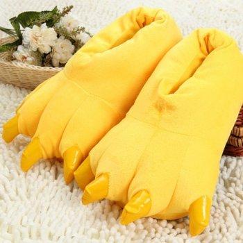 Плюшевые тапочки игрушки Коготки желтые My kigu