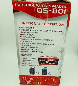 """Портативная колонка 8"""" аккумуляторная беспроводная Bluetooth караоке с проводным микрофоном USB FM 40 Вт Kimiso QS-801"""