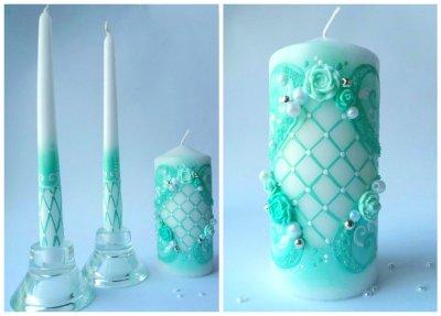 Набор свадебных свечей мятный Bispol 3 шт (СC316-047)