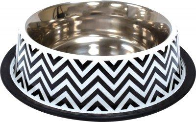 Миска металева для собак і кішок Croci Twiggy Stripes 21 см 700 мл (8023222228153)