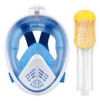 Маска для плавания панорамная с трубкой 5460 синяя, s-m