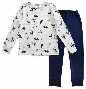 Пижама (футболка с длинными рукавами + штаны) Фламинго 249-217 Молочный/Темно-синий