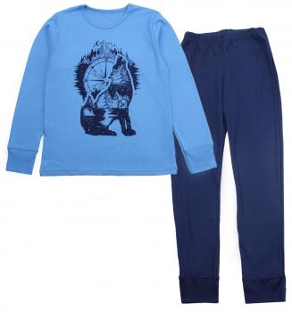Пижама (футболка с длинными рукавами + штаны) Фламинго 253-212 Синий/Темно-синий
