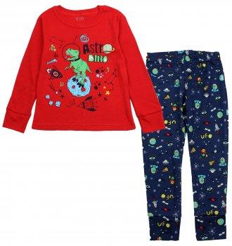 Пижама (футболка с длинными рукавами + штаны) Фламинго 256-222 Красный/Синий