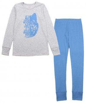 Пижама (футболка с длинными рукавами + штаны) Фламинго 283-1004 Меланж/Голубой