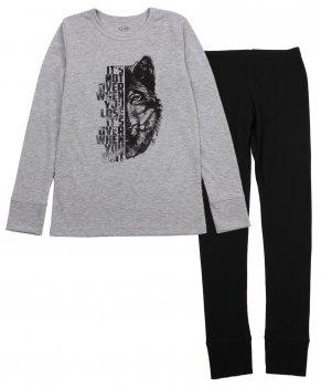 Пижама (футболка с длинными рукавами + штаны) Фламинго 283-1004 Меланж/Черный