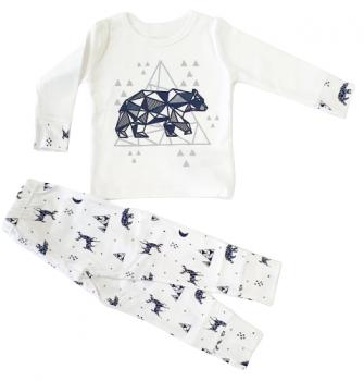 Пижама (футболка с длинными рукавами + штаны) Фламинго 613-222 Молочный/Черный