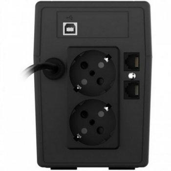 ДБЖ NJOY Cadu 650 (UPCMTLS665TCAAZ01B), Lin.int., AVR, 2 x Schuko, USB, LCD, пластик
