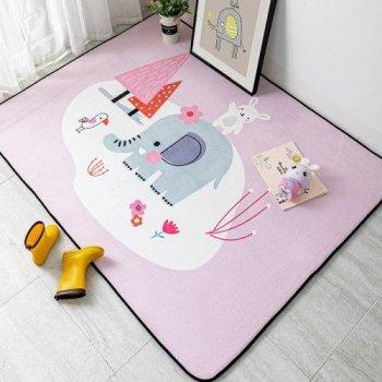 Килимок мат Комільфо мікрофібра рожевий Слон 230х160 ПК96