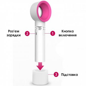 Портативный безлопастный вентилятор ZERQ 9 USB Карманный ручной настольный с подставкой Белый/Розовый