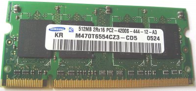 Оперативна пам'ять Samsung SAMSUNG 512MB (1*512MB) PC2-4200S 2RX16 DDR2 533MZ CL4 SODIMM (73P3843) Refurbished