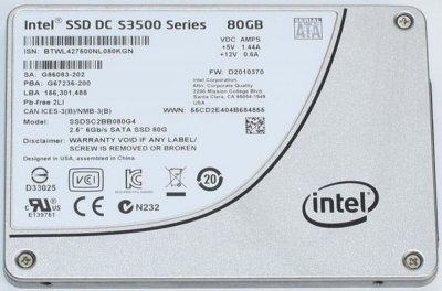 SSD Intel INTEL SSD DC S3500 SERIES 80GB 2.5 inches 6GB/s (SSDSC2BB080G4) Refurbished