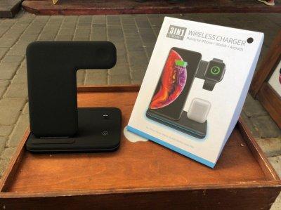Беспроводная зарядная станция-органайзер 3 в 1 QI GOLDFOX Z5 IPhone / Android + Apple Watch + Airpods Wireless Charger + быстрая зарядка Black