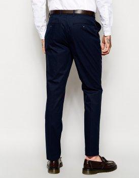 Вузькі штани з попліну ASOS AS324124 Синій