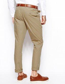 Вузькі штани з попліну ASOS AS404342 Бежевий