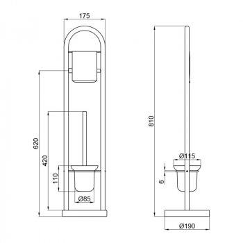 Підлоговий йоржик з тримач туалетного паперу Lidz (CRM)-121.05.07
