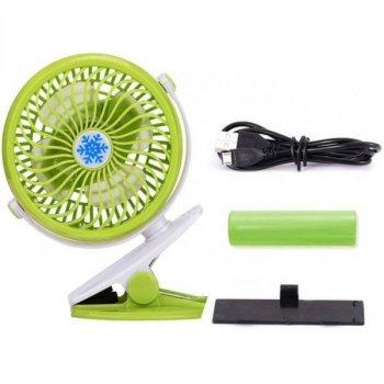 Портативний USB міні-вентилятор Mini Fan з акумулятором на прищіпці Green