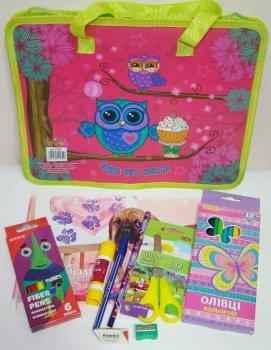 Подарочный набор для первокласника в портфеле для девочки Канцелярские принадлежности Kidis 10 предметов