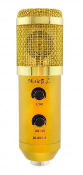 Студийный микрофон для записи вокала, записи видео и т.д. Music D.J. M-800 со стойкой и ветрозащитой Black/Gold