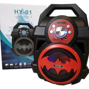 Колонка бумбокс Boombox HY-01 Бэтмен акустическая портативная Bluetooth Чёрно-красная
