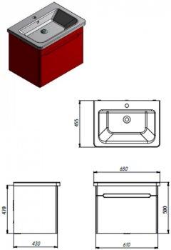Тумба JUVENTA Tivoli Tv-65 серый с умывальником Soft-65