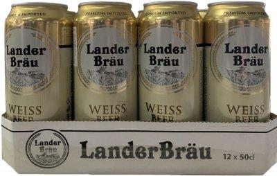 Упаковка пива Landerbrau Weissbier светлое нефильтрованное 4.7% 0.5 л х 12 шт (8714800032551)