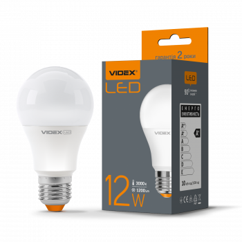 Лампа LED Videx А+ 12w E27 3000k 220v 1200 Lm (VL-A60e-12273)