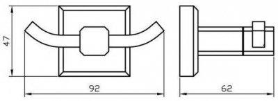 Крючок двойной AQUA RODOS Leonardo 9925 черный матовый