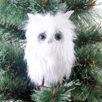 Ялинкова іграшка Новогодько (YES! Fun) Сова пухнаста, декорована сріблом, h — 14 см (973454) (5056137157761)