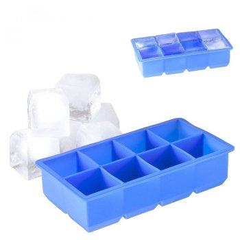 Силиконовая форма для льда с крышкой ICE BAR 8 кубиков по 5 х 5 см синяя (SRICELIDBLUE01)