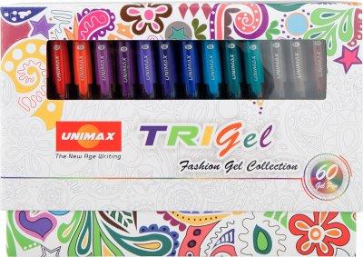 Набор гелевых ручек Unimax Mixed с быстросохнущими чернилами трехгранный корпус 1 мм 60 цветов (UX-145)