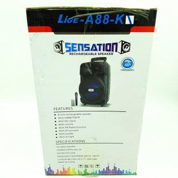"""Акустична система 8"""" акумуляторна бездротова Bluetooth колонка з караоке USB FM 15 Вт Lige A88 чорна"""