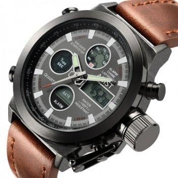 Армейские наручные водонипроницаемые часы AMST Brown Original с аналоговым и электронным отображением времени (1788R)