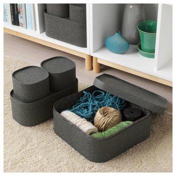 Набір коробок з кришкою IKEA (ІКЕА) SAMMANHANG 4 шт темно-сірі (004.123.55)