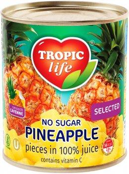 Ананас кусочками Tropic Life в собственном соку 850 мл (5060235650383)