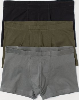 Труси-шорти H&M 675410 3 шт. Хакі/Чорні