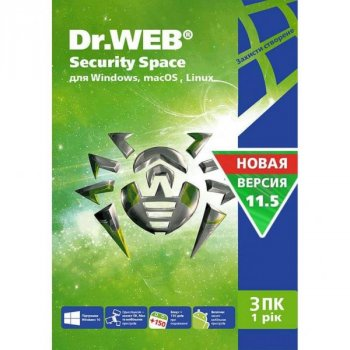 Антивірус Dr. Web Security Space, 3 ПК 1 рік карт. конверт (KHW-B-12M-3-A3)