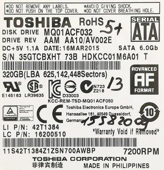 """Жорсткий диск для ноутбука Toshiba 320GB 2.5"""" 16MB 7200rpm 6Gb/s (MQ01ACF032) SATAIII Б/У"""