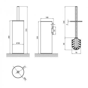Ершик напольный для унитаза, металл Q-tap Liberty BLM 1150