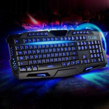 Игровая проводная русская клавиатура M200 с подсветкой USB Черная Синяя подсветка