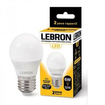 Світлодіодна лампа LEBRON 6W 4100K G45 220V E27